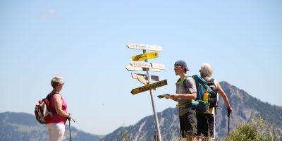 Berghotel Mühle Wanderer Wegweiser